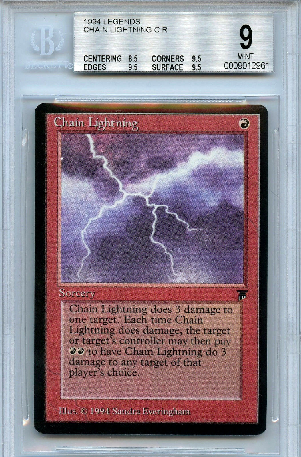MTG Legends Chain Lightning BGS 9.0 (9) Mint card Magic the Gathering WOTC 2961