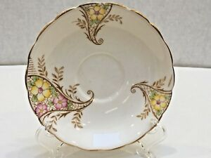 Colclough-REPLACEMENT-SAUCER-Bone-China-Yellow-Pink-Flowers-Gilt-Edge-England