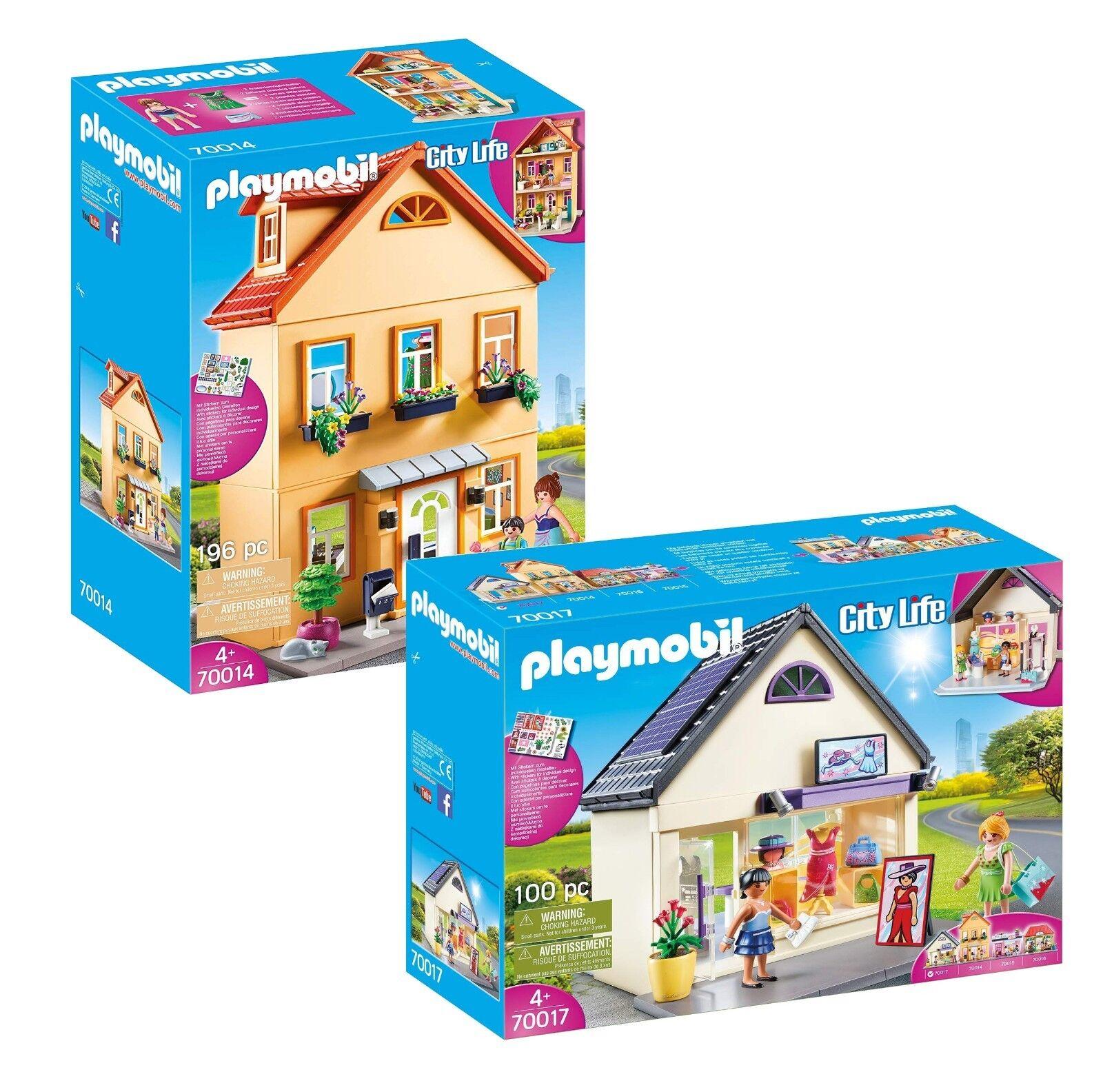 PLAYMOBIL® Set  70014 Mein Stadthaus + 70017 Trendboutique, neu