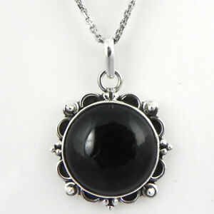 925 silver necklace and onyx pendant