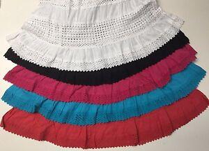 100-Cotton-Boho-Crochet-Lace-Trim-Peasant-Sweep-Long-Skirts-NWT-S-M-L-XL