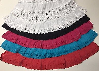 Women/'s Cotton Boho Lace Trim Embroidered Sequins Tiered Peasant Sweep Skirt NWT