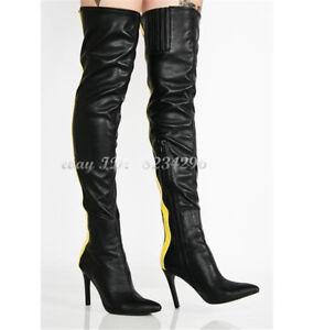 Schwarz-Gleb-Leder-Overkneestiefel-Damen-Boots-High-Heels-Sexy-Stiefel-Schuhe