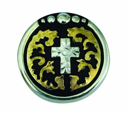 """Partrade 1/"""" Chicago vis Floral Brass Silver Cross Concho en acier inoxydable"""