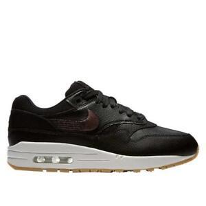 Détails sur Nike FEMMES Air Max 1 Prm Chaussures Noir Gomme Jaune 454746 020