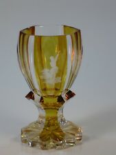 Antique Engraved Glass Bohemian Cut Amber Flashed Hunter w Gun