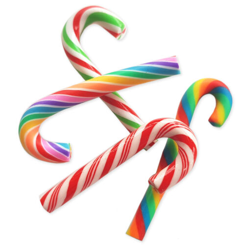 4pcs Christmas Faux Candy Swirl Cane Sweets Kawaii Decoden Craft Embellishments