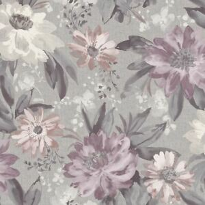 Details About Painted Dahlia Heather Lilac Grey Floral Wallpaper Flowers Feature Arthouse
