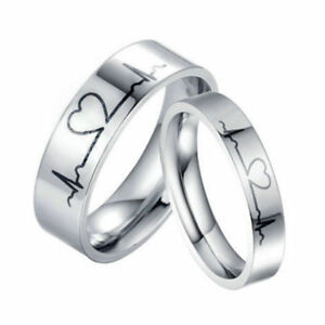 New Fashion Couple Finger Rings Lover Heartbeat Ecg Pattern Titanium