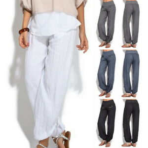 28ebeedd15 Plus Size Women Causal Loose Yoga Trousers Solid Color Buttons Pants ...