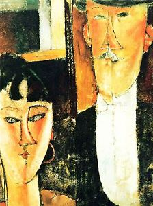 AMEDEO-MODIGLIANI-BRIDE-GROOM-OLD-MASTER-ART-PAINTING-PRINT-POSTER-141OMA