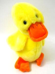 1998 Quackers Yellow Duck Beanie Baby PE Pellets Orange Beak Feet Ty Plush 9 In.