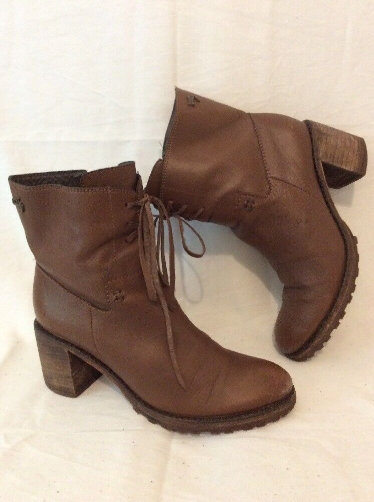 Velez Brown Ankle Leather Boots Size 37
