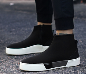 High top Mens Side Zipper Fashion Casual Sports Sneakers Running Shoes Athletic Shoes Running f2e798