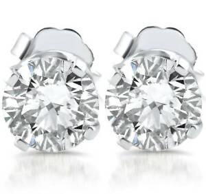 E/SI 1ct Diamond Studs 14k White Gold Clarity Enhanced