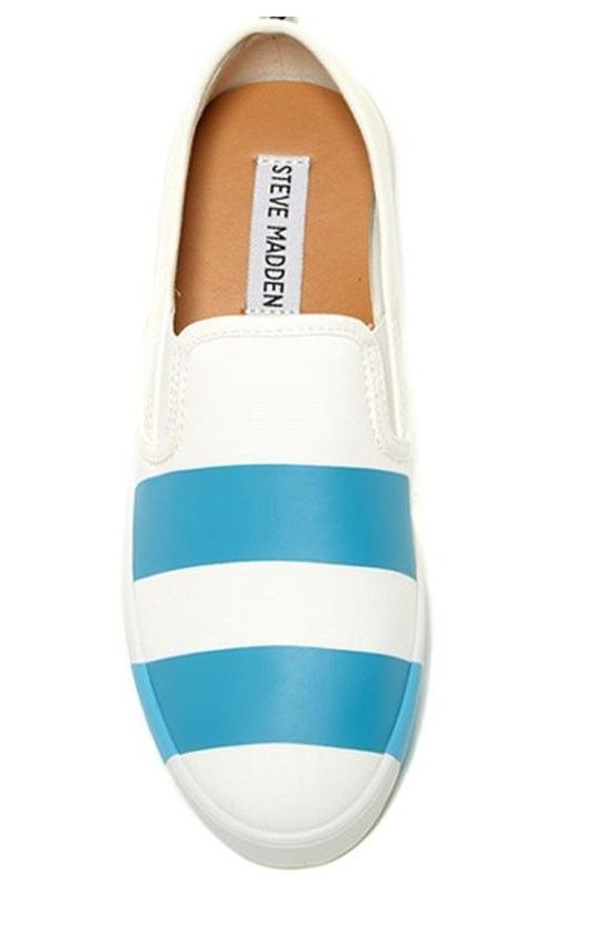 NEU STEVE MADDEN STYLIN WEISS Blau LOAFERS SLIP ON Schuhe Damenschuhe 9.5 FREE SHIP