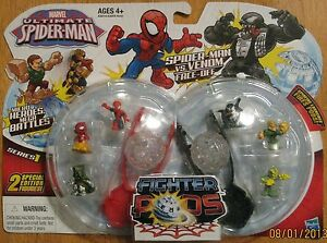 Marvel Ultimate Spiderman Micro Heroes Mega Battles Fighter Pods S1 Lot 2 Packs