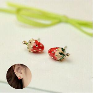 Betsey-Enamel-Studs-Mini-Girls-Ear-Earrings-Strawberry-Women-Stud-Johnson-Cute