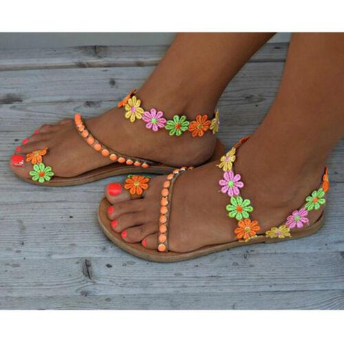 Summer Womens Bohemian Flower Sandals Ladies Holiday Beach Flip Flop Flat Shoes