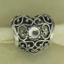 Authentic Pandora 791784RC April Signature Rock Crystal Heart Silver Bead Charm