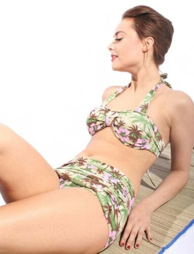 40er Retro PALMEN Hibiskus pin up Hawaii Flower Rockabilly Bikini