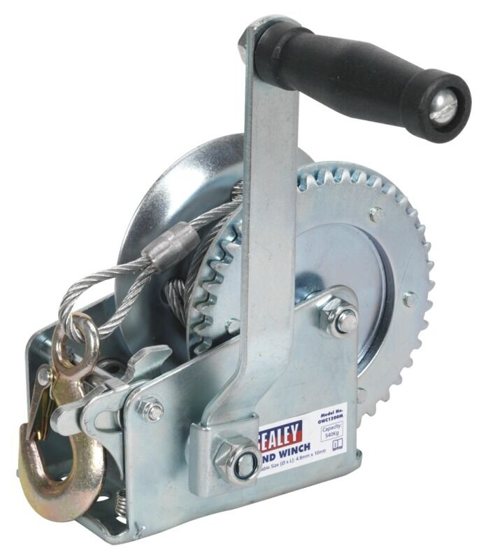 Sealey Geared Hand Winch 540kg Capacity with Cable GWC1200M