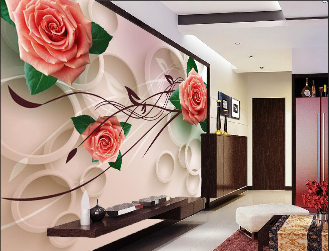 3D Modern red pink flower Wall Paper Print Decal Wall Deco Indoor wall Mural