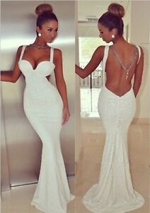 eb8dcf7d2 White Backless Ruched Prom Dress Formal Evening Gown Party Wedding ...