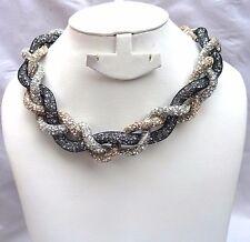 Mix Braided Crysta Swarovski Element Stardust Necklace Choker Magnetic closure