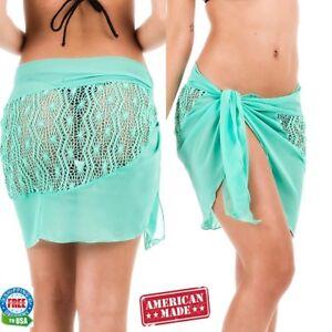 cd73f3299cad7 Details about Coqueta women Swimwear Chiffon beach Cover up Beach Sarong  CROCHET MINT TIFFANY