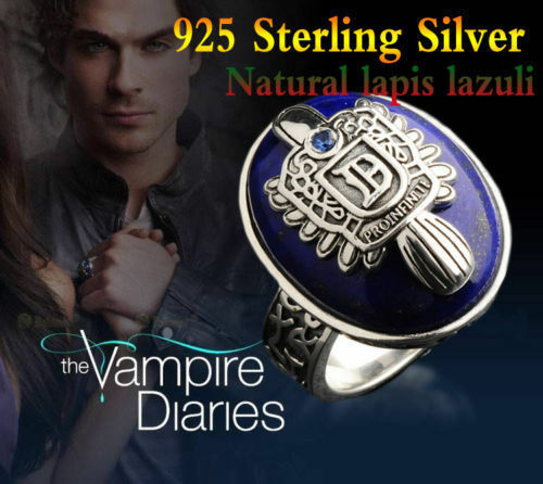 Argent Sterling 925 Vampire Diaries Damon et Stefan Lapis lazuil Ring Custom