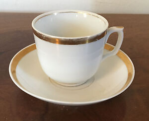 19th c. Empire Old Paris Porcelain Tea Cup & Saucer French Gilt Gold & White