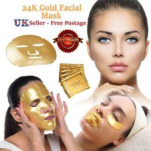 Gold Collagen Bio Crystal Mask for Face Facial Eye Neck & Lip Anti Ageing Masks