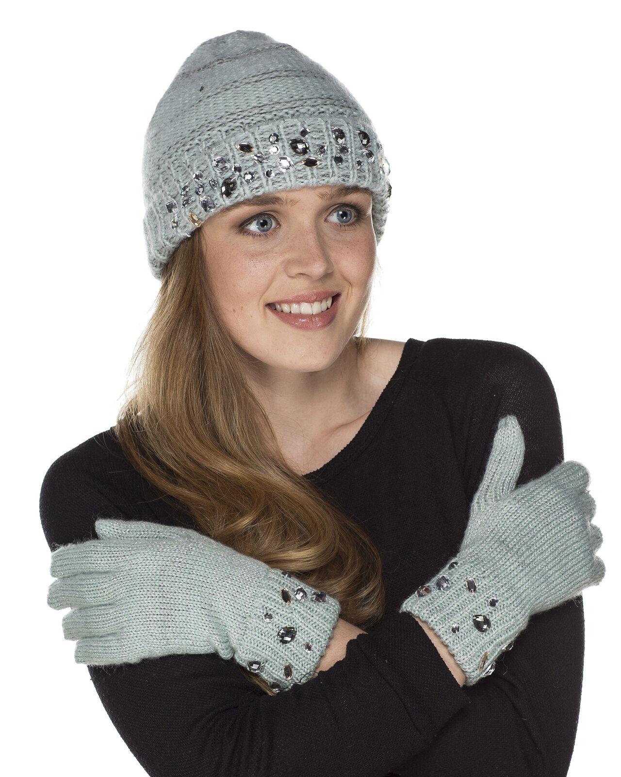 i-Smalls Women's Julie Knit Beanie Hat and Glove Set with Jewel Trim (Mint)