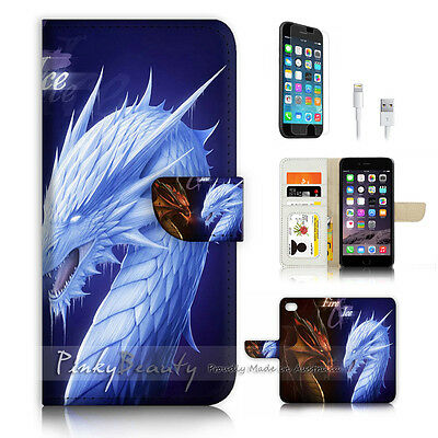 ( For iPhone 7 Plus ) Wallet Case Cover P3209 Dragon Fire Ice