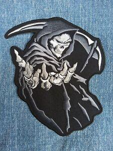Large Grey Grim Reaper Patch Embroidered Iron On Sew Metal Biker Skeleton skull