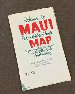 Vintage 1960s Island of Maui Drive and tour Map Hawaii