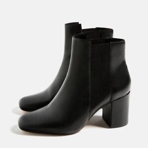 b5fcd4a6e0ca Zara Woman Black Elastic Ankle Booties Medium Heel Round Toe EU 40 ...