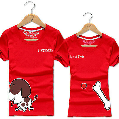 Hot Women men tops for summer clothes Lovers couple T- shirt  Dogs love Bone S#