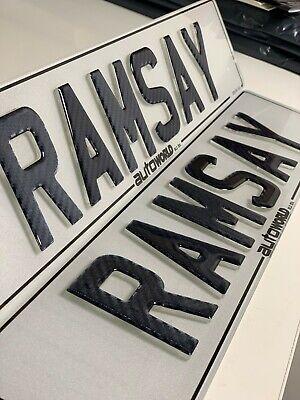 PAIR of 4D Krystal with Gloss Black Gel Raised Reg Plate Number Cherished