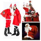 5Pcs Women Men Santa Suit Set Christmas Santa Claus Costume Adult One Size