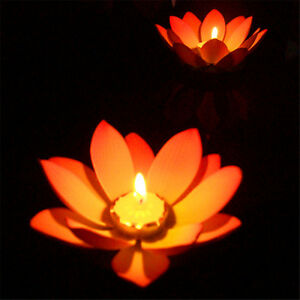1pc da esterno galleggiante candela lotus luce stagno for Stagno da giardino