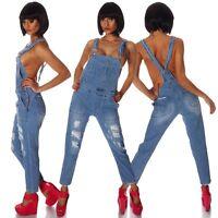 3958 Latzhose Hose mit Träger Röhren Latzjeans Jeans Overall Jeanshose