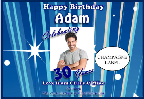 Personalised Birthday Wine Champagne Bottle Label Photo Gift for him N23