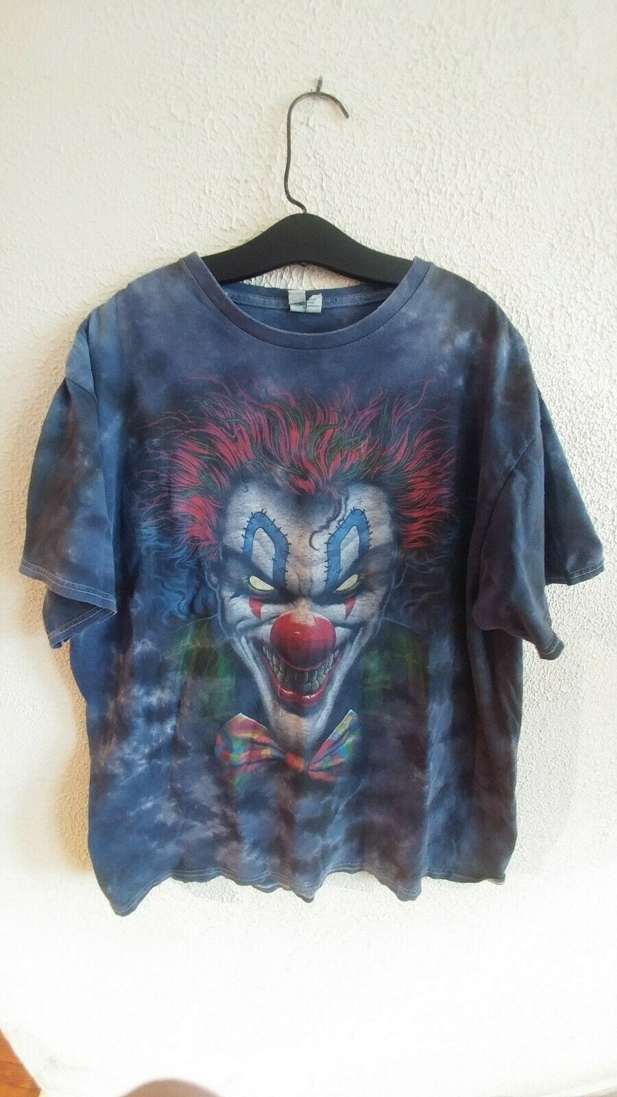 Vintage distressed Tie Dye Killer Clown t shirt xl pennywise holes hype street