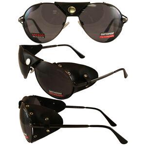 AVIATOR-SUNGLASSES-BLACK-GUNMETAL-FRAME-SMOKE-LENS-Leather-Eye-Guards-BY-BIRDZ