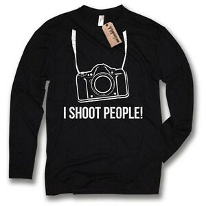 MANGA-LARGA-I-Shoot-GENTE-fotografo-Fun-Camiseta-de-negra-talla-S-M-L-Xl-Xxl