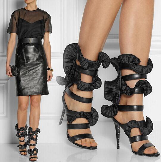 Gladiador Mujer de Cuero aguja Correa De Tobillo Zapatos Taco aguja Cuero Zapatos Sandalias Zapatos botas Taco Alto Club 74fa18