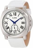 a_line Women's 80007-02-WH Pyar Silver Textured Dial White Leather Watch