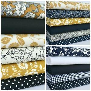 Mustard Navy Black Avery floral Rose Fat Quarter Bundles /& 100/% Cotton Fabrics
